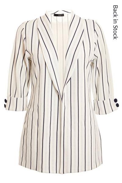 White & Navy Stripe Blazer